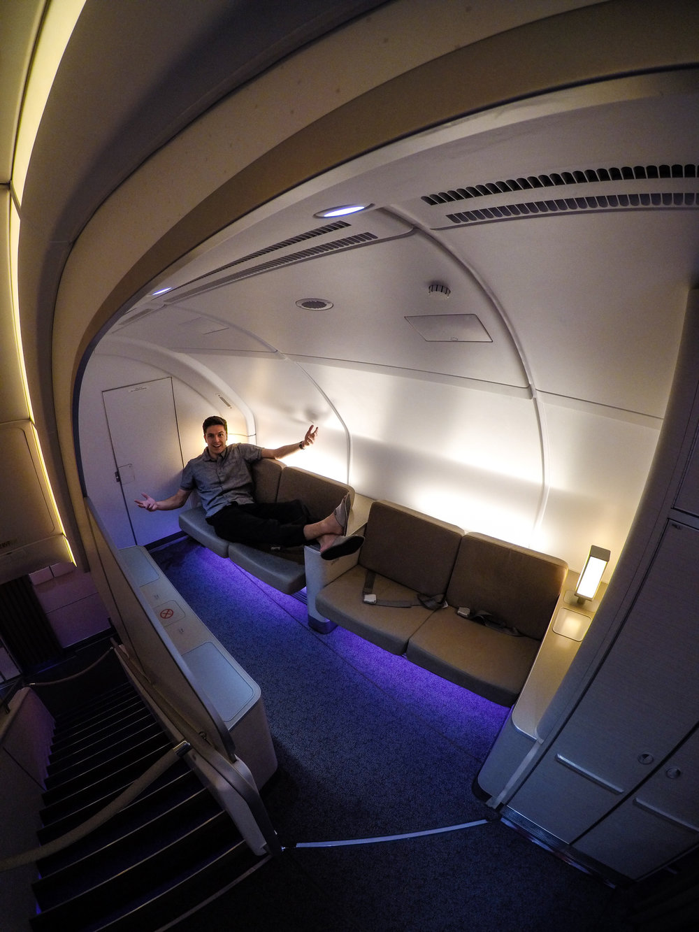 This particular flight had a lounge on board, pretty insane!