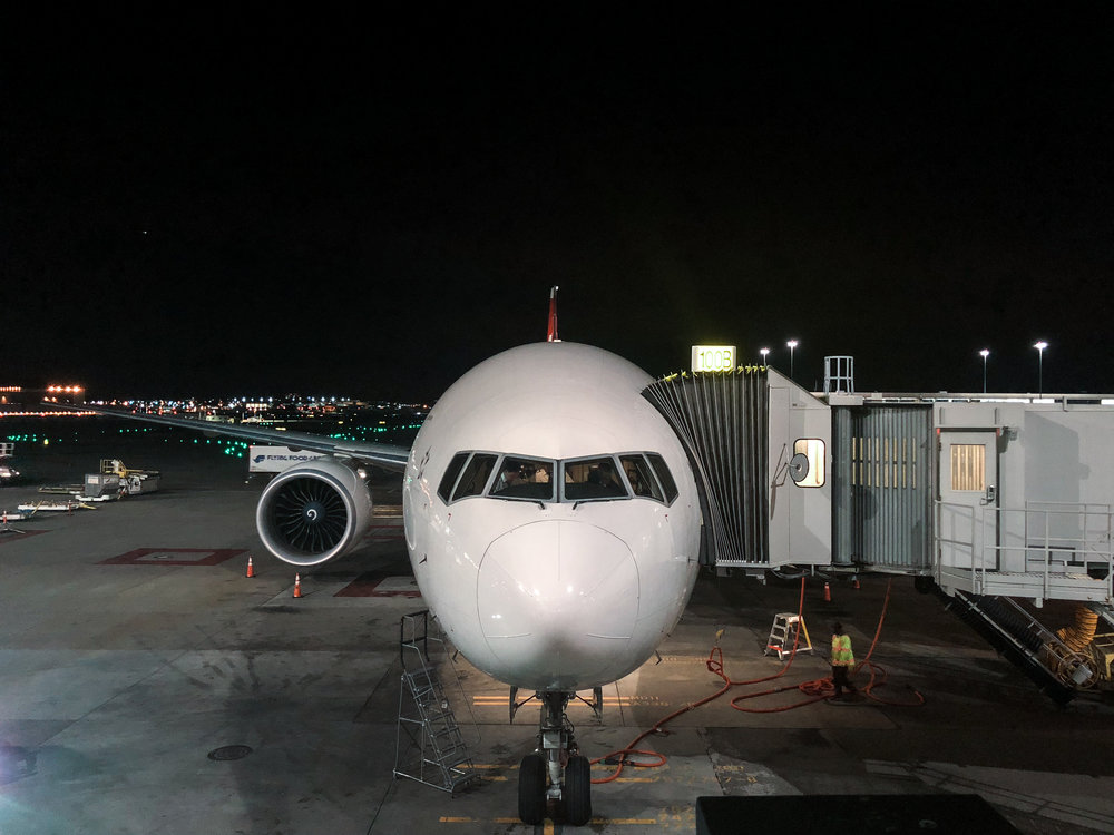 Swiss 777 at the gate in San Francisco