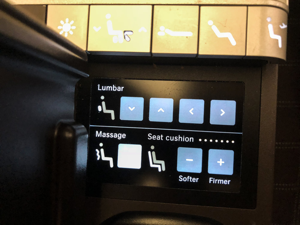 Swiss Business Class 777 seat controls