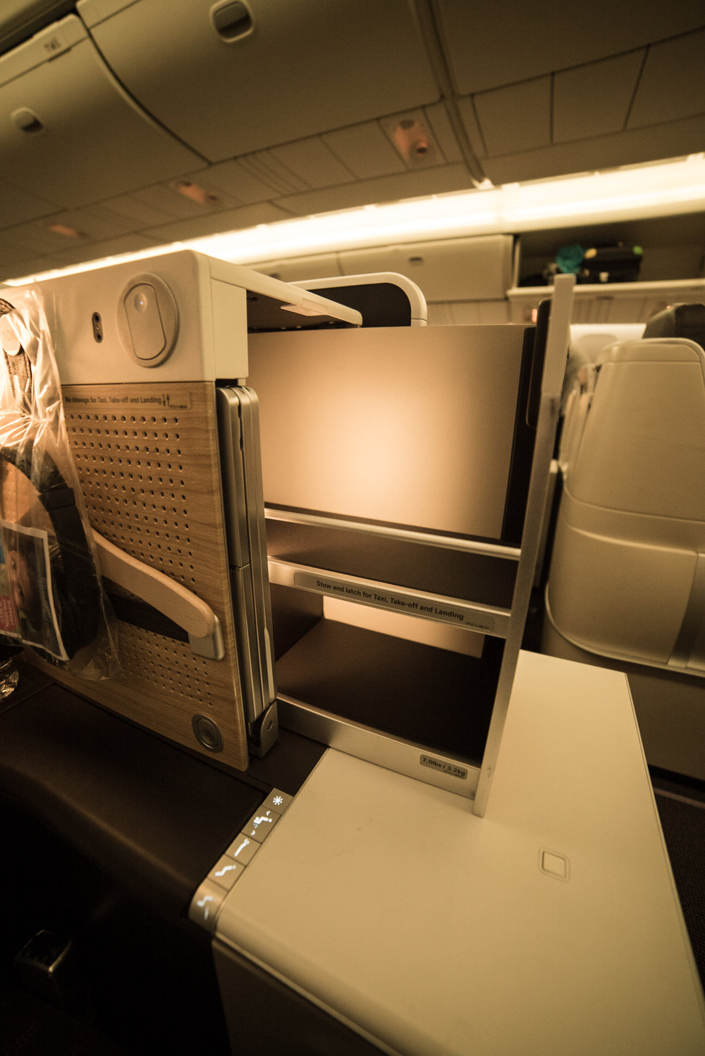 Swiss Business Class 777 seat storage