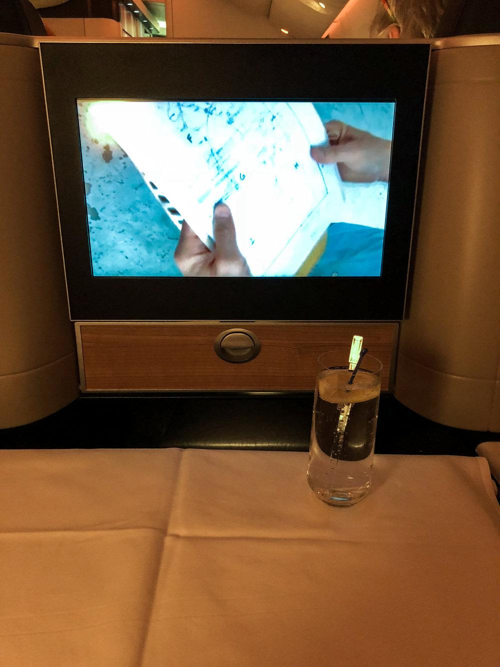Swiss Business Class cocktail