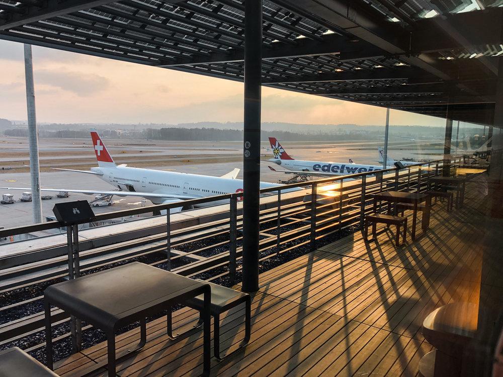 Swiss Business Class Lounge Viewing Deck in Zurich