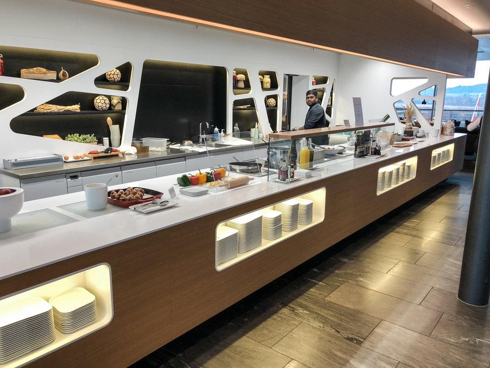 Swiss Business Class Lounge Food Bar in Zurich