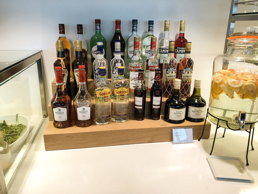 Swiss Business Class Lounge Drink Selection in Zurich