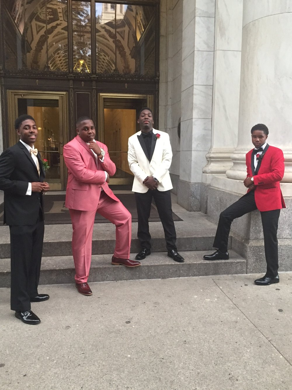 """The Tribe""--Gary Williams, Maurice Scott, Rayshawn Johnson, and Rashaan Brooks, Jr (left to right)--leaned on each other to navigate the challenges and opportunities of growing up and going to school at the academically rigorous J.R. Masterman School in Philadelphia. Consistently ranked as one of the top high schools in the state and even in the country, Masterman prepares its students for success after graduation. The Tribe is no exception: Gary, Maurice, and Rashaan are all headed to the University of Pittsburgh, and Rayshawn is going to Yale.  The Tribe's time at Masterman wasn't strictly spent studying. The young men all play prominent roles in the schools African American Culture Committee, a club dedicated to fostering and growing the school's black student population. Rashaan, Gary, Maurice, and Rayshawn were four of just seven black young men in their grade of 108 students."