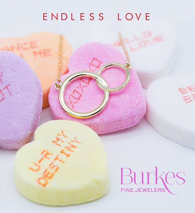 """A love that never dies, never fades, never loses its electricity."" Give her the perfect gift this Valentine's, our ""Endless Love"" necklace. 💎💋💕 #burkesjewelers #burkesbling #shoplocalnnk #ashleypetersonphotography"