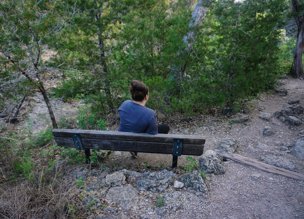 One of the benches along the way. Yes, I felt awkward posing for this photo lol.