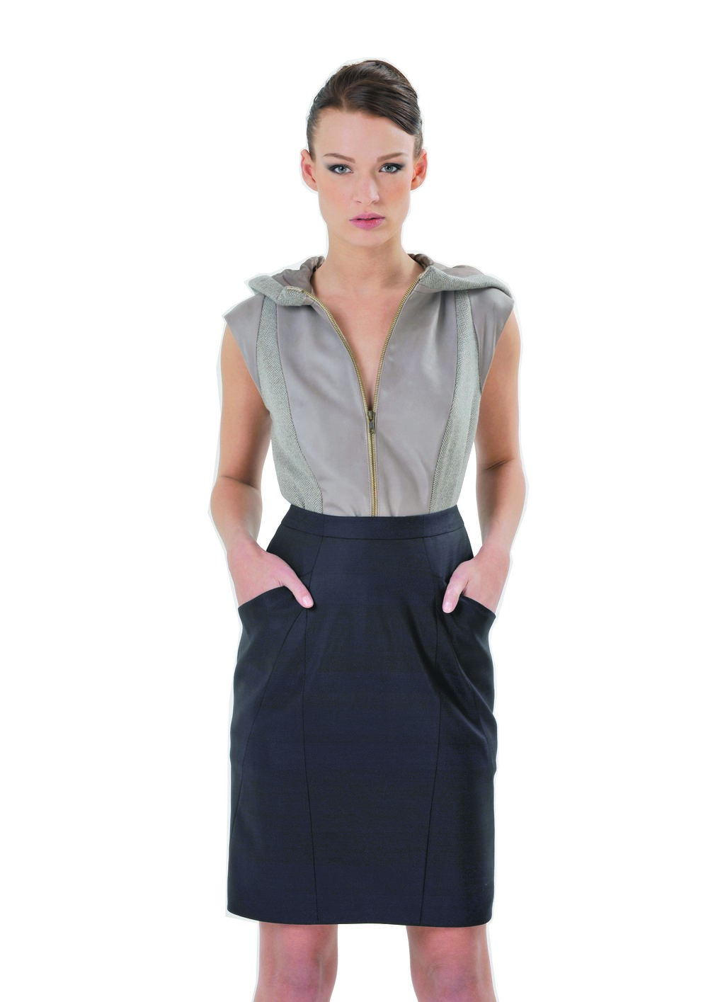 LAKA Sleeveless jacket & SHALINI Skirt