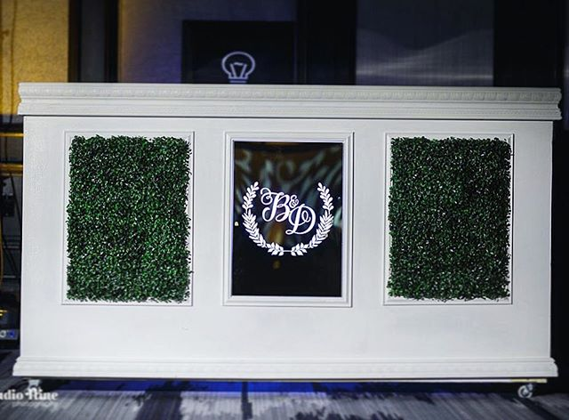 Super excited about our new #customdesigned boxwood bar with etched acrylic mirror monogram showed up. Don't go plain with the same old bars that everyone else in town has already used. Give your event your signature by customizing. Get in touch with our fabrication team and get your next project on the books! ☎️ (301) 366 9796