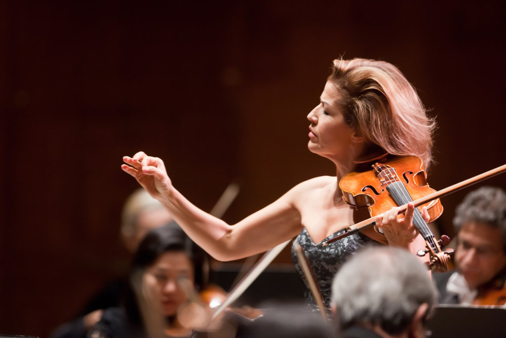 Violinist Anne-Sophie Mutter was the first Artist-in-Residence to conduct the Orchestra (2010–11), leading three Mozart violin concertos from the violin. A champion of the music of our time, she gave World Premieres by Wolfgang Rihm and Sebastian Currier, a U.S. Premiere by Krzysztof   Penderecki, and a New York Premiere by Sofia Gubaidulina. She also performed chamber music with Philharmonic musicians.