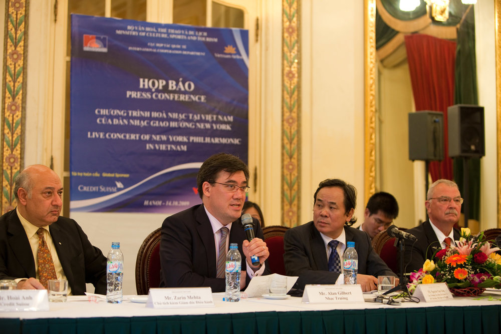 "Starting with  Asia Horizons  — Alan Gilbert's very first tour with the New York Philharmonic —  Music Director and Orchestra spoke in the language of music across cultures and borders. A highlight of the five-country 2009 tour was the Orchestra's first-ever performances in Hanoi, Vietnam. At a press conference there, Alan Gilbert said, ""Our mission is not just to perform, but to be a cultural bridge between countries."""