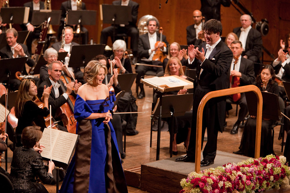 Soprano   Renée Fleming was the soloist in the 2009 Opening Gala Concert that launched Alan Gilbert's tenure as Music Director, performing Messiaen's  Poèmes pour Mi.  She has since re-appeared with Alan Gilbert and the Orchestra, including the World Premiere–Philharmonic Co-Commission of Anders Hillborg's  The Strand Settings  and, most recently, his 50th birthday concert in February 2017.