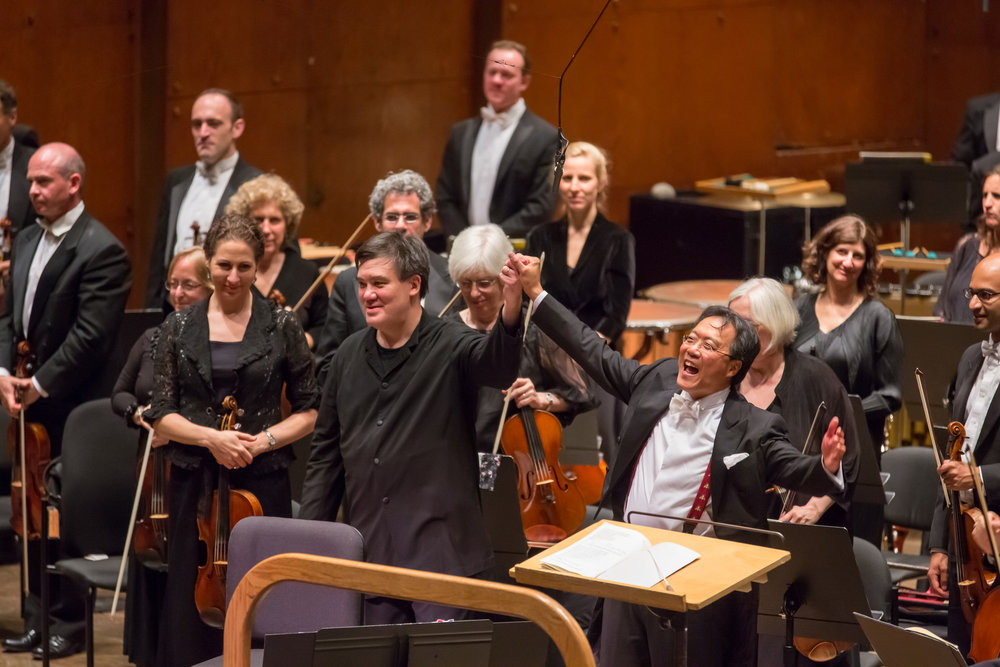 Yo-Yo Ma was the soloist in Alan Gilbert's 2013 Opening Gala Concert, performing the World Premiere–Philharmonic Commission of Octavio Brunetti's arrangement of a suite from Piazzolla's  La serie del Ángel,  and Osvaldo Golijov's  Azul,  composed for the cellist. He also joined Alan Gilbert and the Orchestra at Carnegie Hall's 120th Anniversary Gala in 2011, for an all-Dutilleux concert in 2012, a concert celebrating the Silk Road Ensemble's 15th anniversary in 2015, and the 2017 New York Premiere–Philharmonic Co-Commission of Esa-Pekka Salonen's Cello Concerto in New York and on tour. Yo-Yo Ma — who shares the Music Director's belief in the power of music to bridge borders — will perform in  Alan Gilbert Season Finale: A Concert for Unity,  featuring musicians from orchestras around the world and celebrating the power of music to build bridges and unite people across borders.