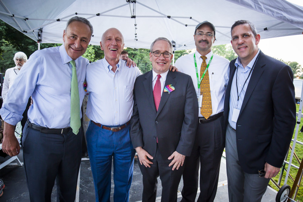 The Concerts in the Parks are civic occasions, as evidenced by the 2016 speaker line-up: U.S. Senator Charles E. Schumer; New York Philharmonic Chairman Oscar S. Schafer; New York City Comptroller Scott M. Stringer; Doug Blonsky, President and CEO of the Central Park Conservancy; and Philharmonic President Matthew VanBesien.