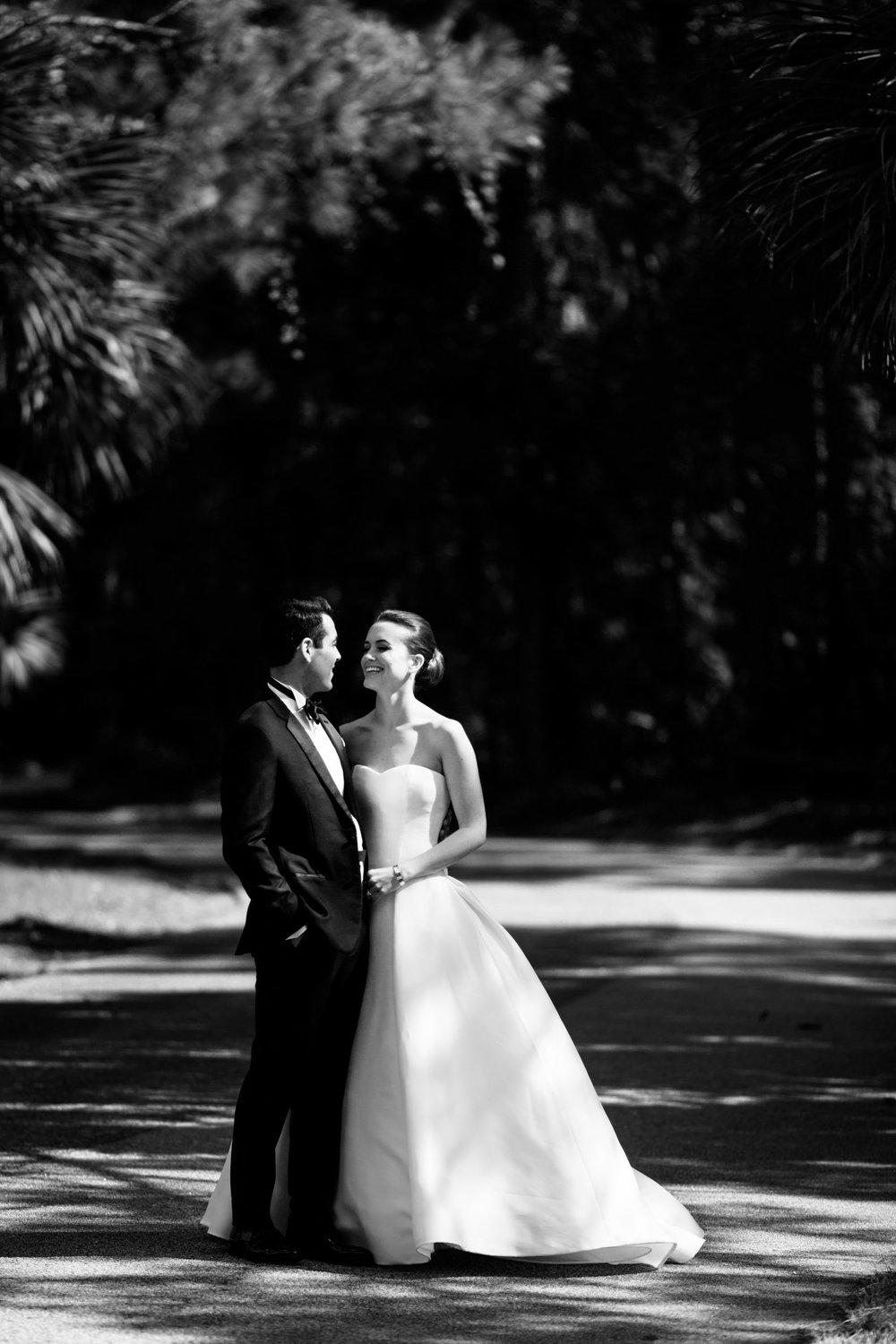 black and white portrait of a bride and groom on kiawah island