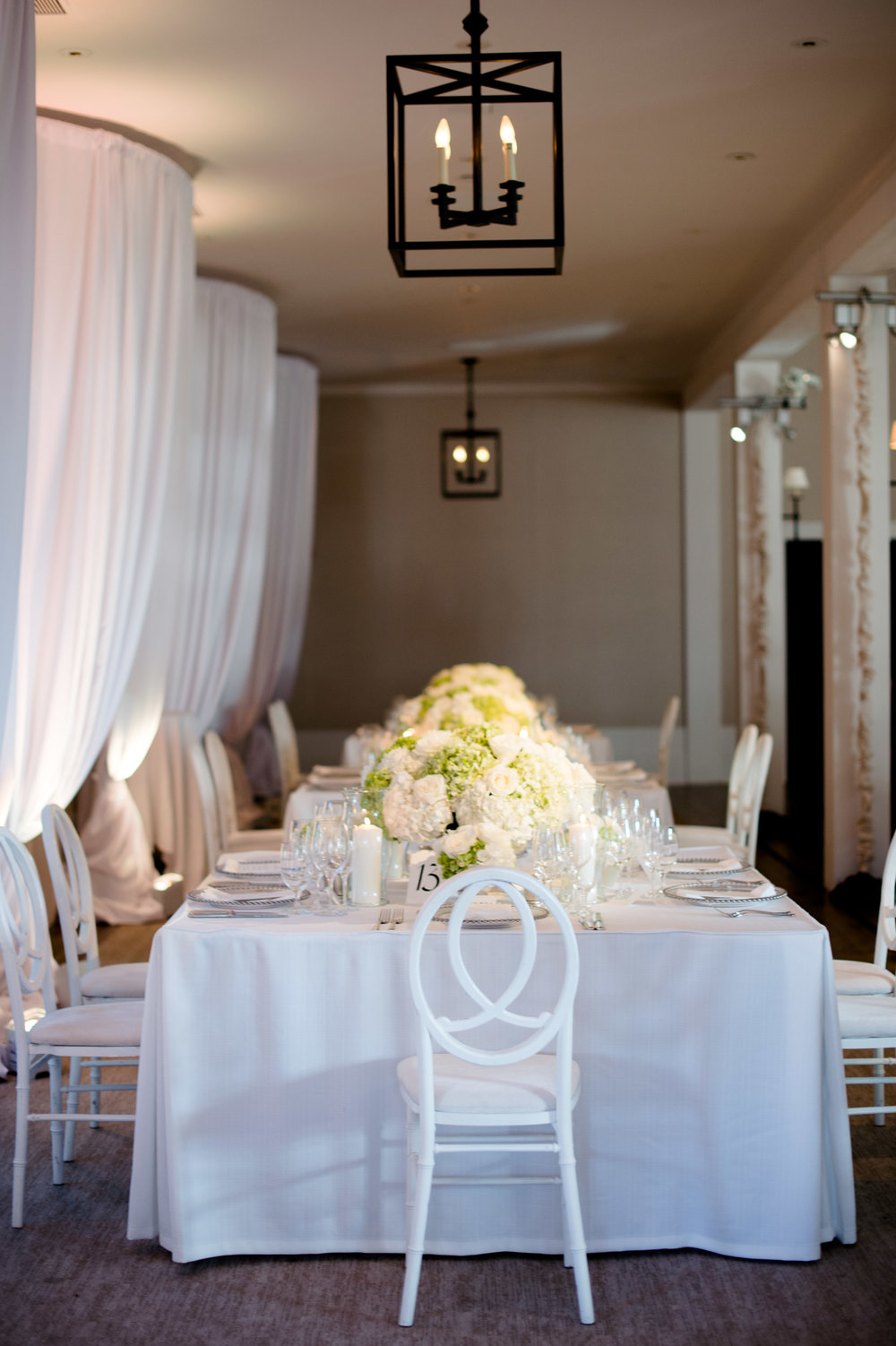 White wedding reception decor at Kiawah Island Golf Resort