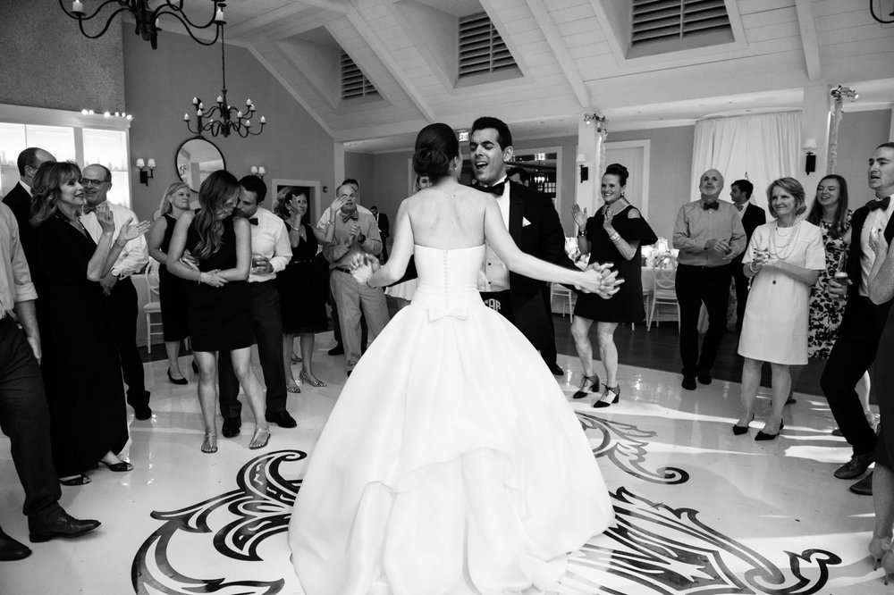 Bride and groom dance at their wedding in Kiawah Island, SC