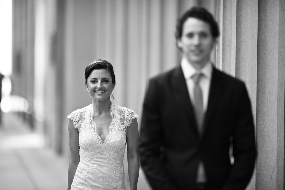 A bride and groom's first look on their wedding day in downtown Chicago.