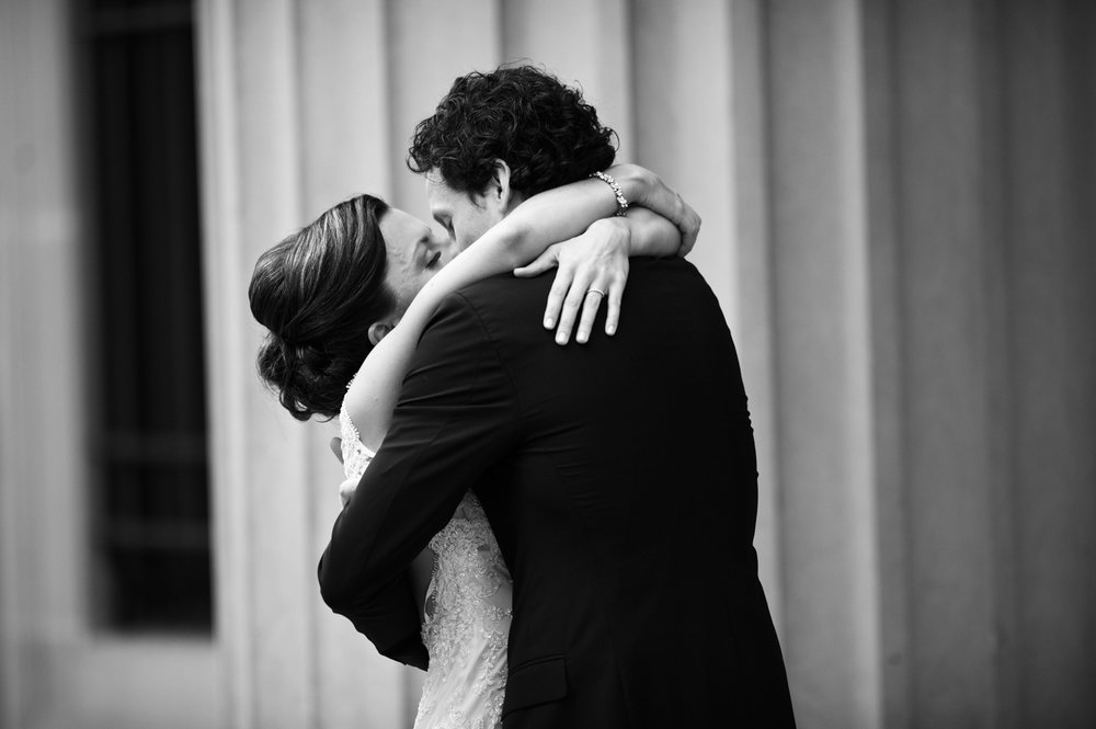 Documentary photography of a first look in downtown Chicago before wedding at Morgan Manufacturing.
