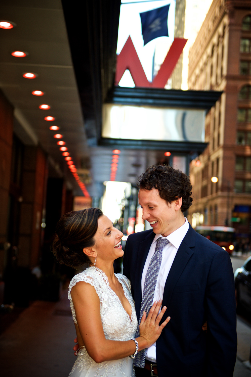 Photo of a bride and groom on their wedding in downtown Chicago near the W Chicago City Center.