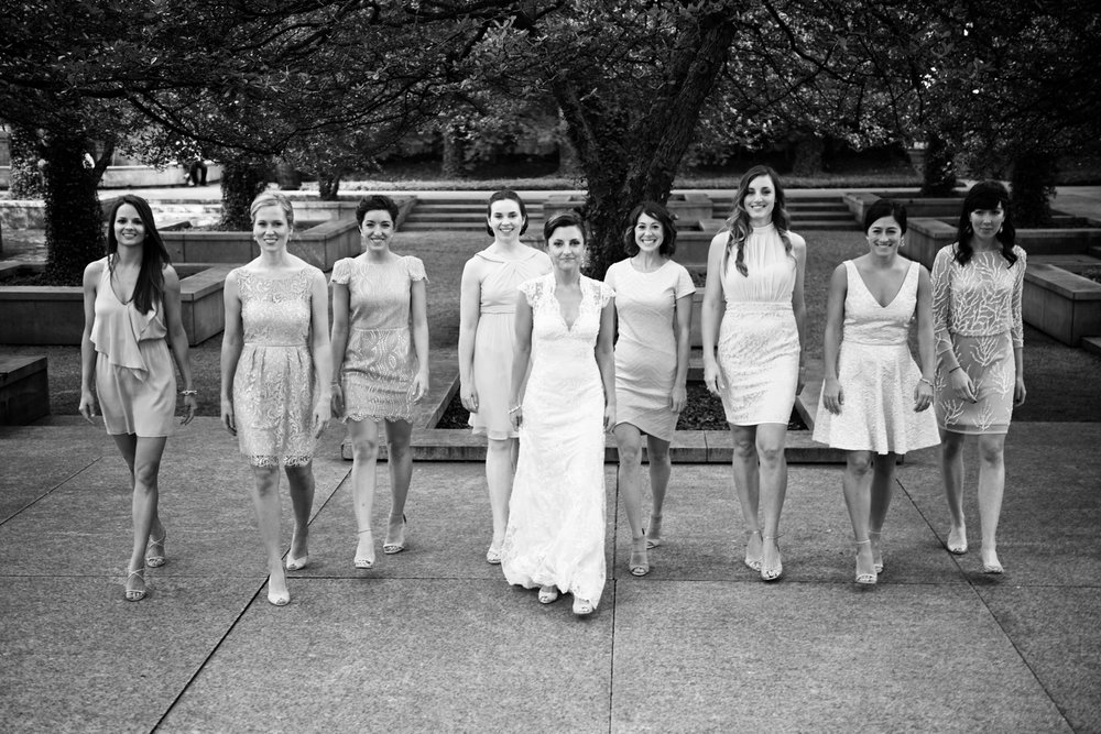Candid portrait of bridesmaids at the Art Institute of Chicago gardens before a wedding at Morgan Manufacturing.