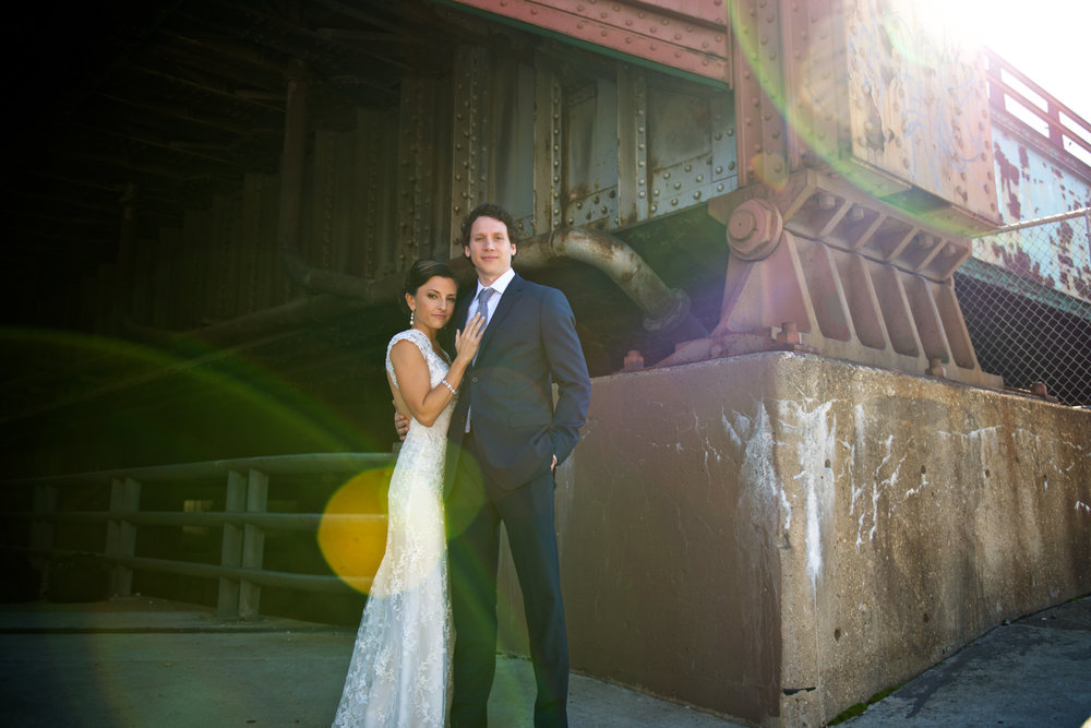 Urban wedding portrait in Chicago at Morgan Manufacturing.