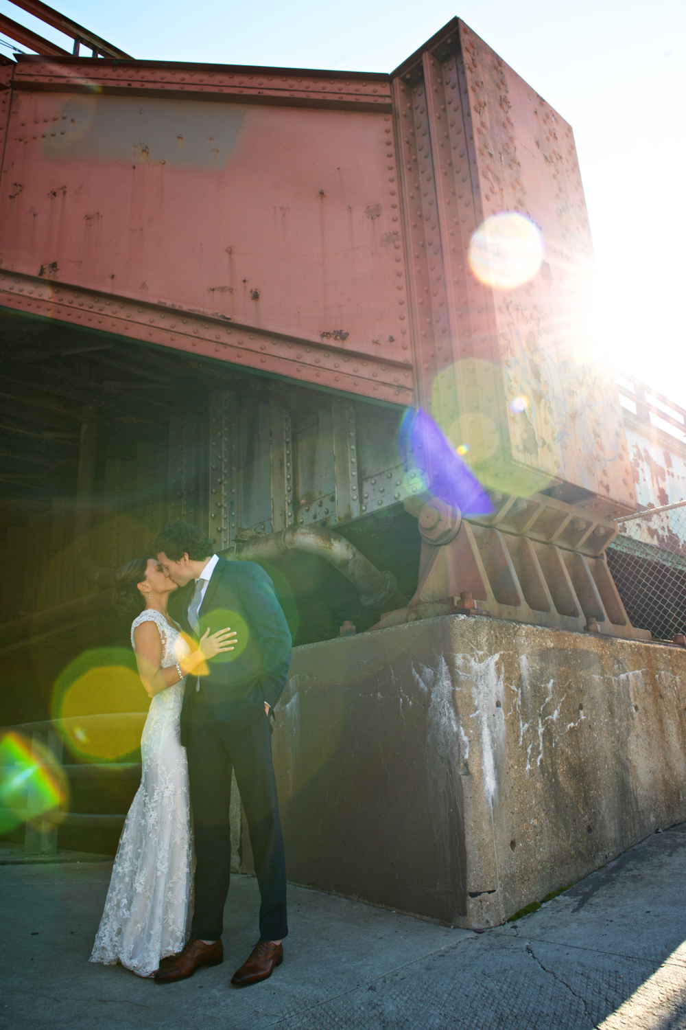 Wedding photography of bride and groom in Chicago West Loop.