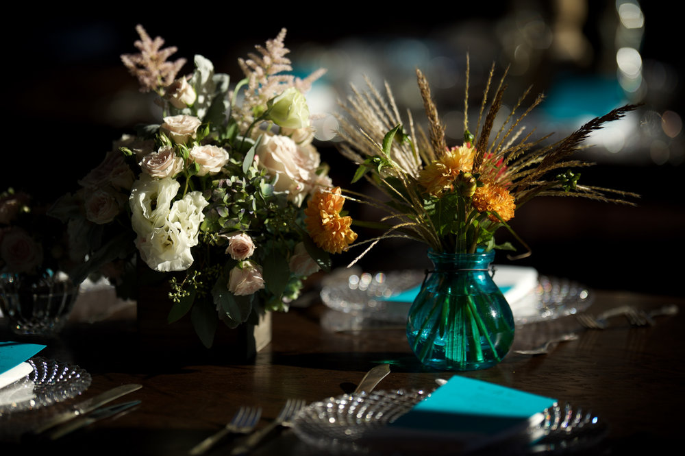 Floral details for wedding at Morgan Manufacturing in Chicago.
