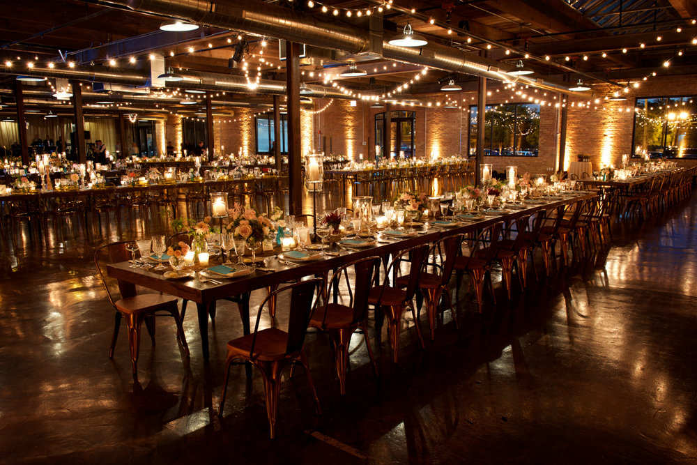 Wedding reception at Morgan Manufacturing in Chicago.