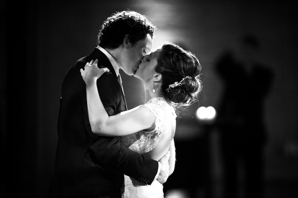 Bride and groom's first dance during wedding reception at Morgan Manufacturing in Chicago.