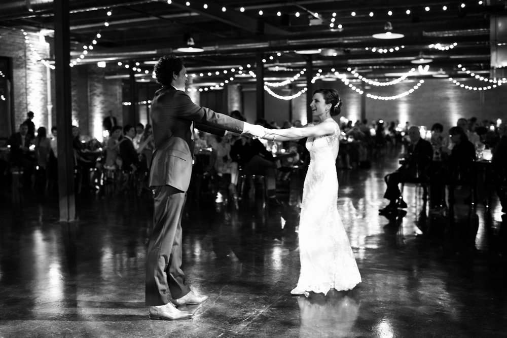 A couple dancing at their wedding reception in Chicago.