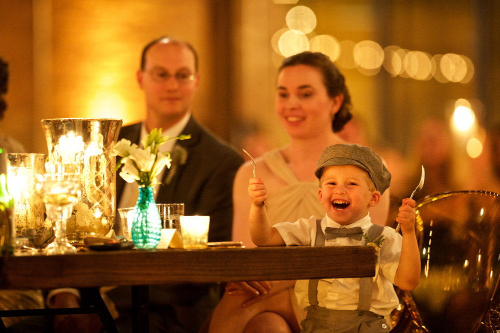 Candid photo of guests during wedding reception at Morgan Manufacturing in Chicago.