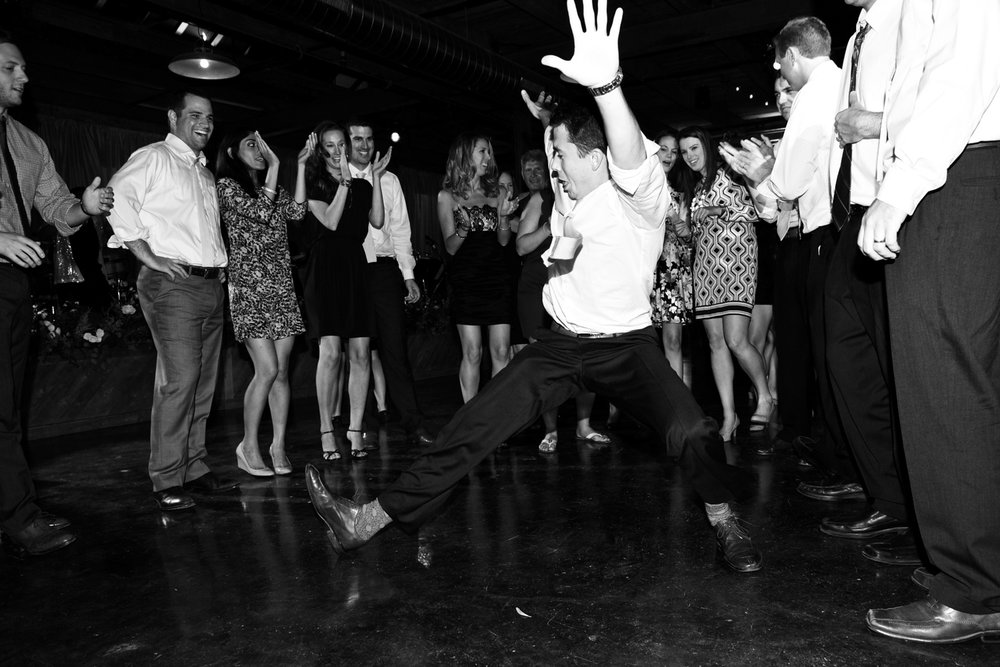 Wedding photograph of guests dancing at Morgan Manufacturing in Chicago