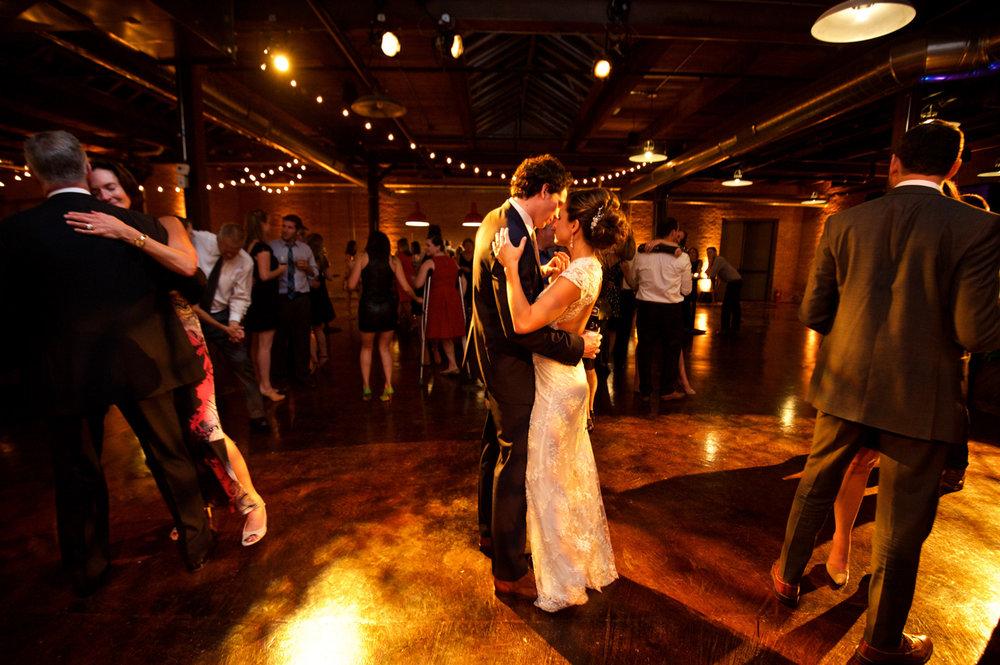 Couple dances at their Morgan Manufacturing Chicago wedding.