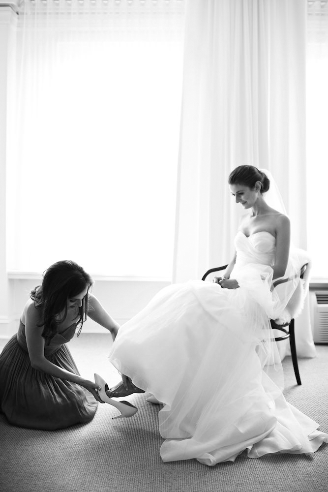 Bride gets ready for wedding at Public Hotel in Chicago, Illinois.