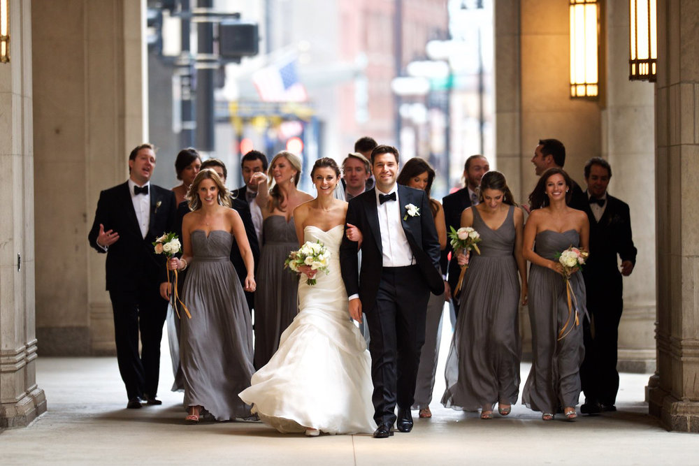 Wedding party portrait at the Lyric Opera in Chicago