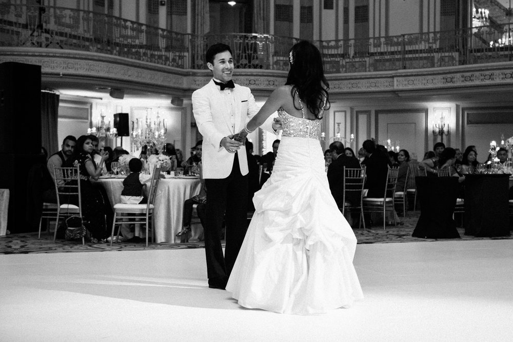 Bride and groom's first dance at Palmer House Chicago wedding.