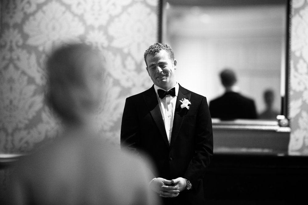 Bride and Groom's first look at Four Seasons Chicago.