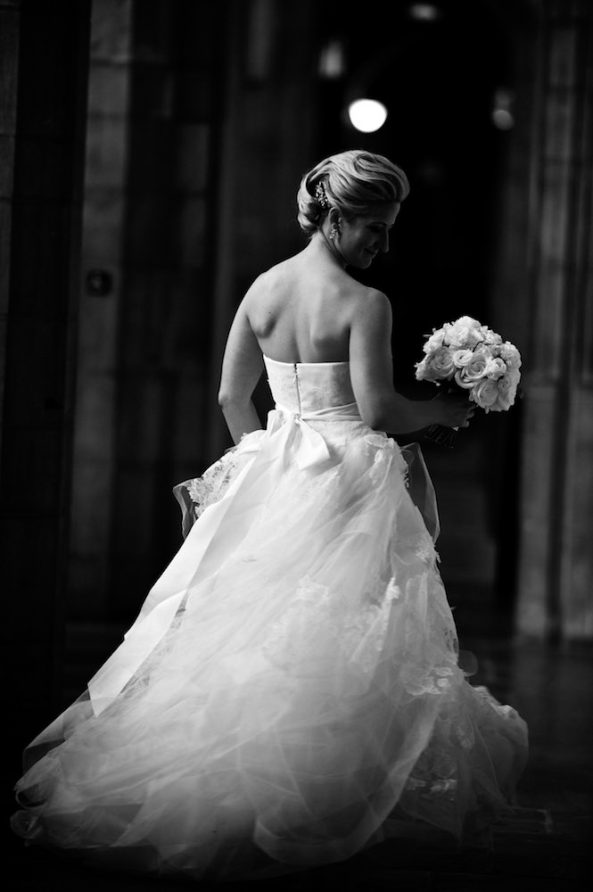 Black and white bridal portrait in Chicago
