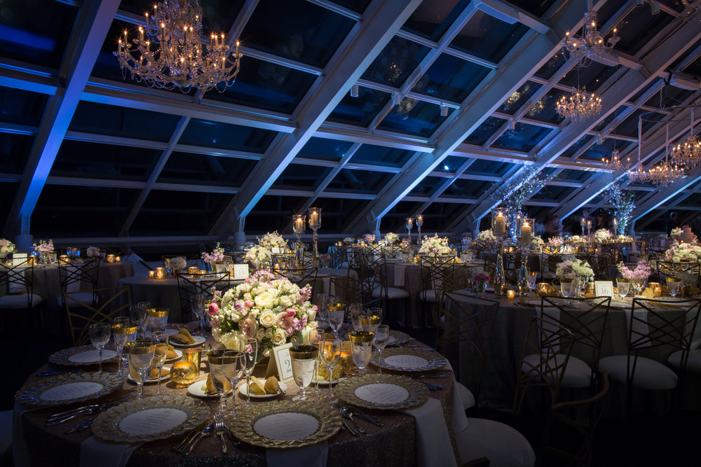 Stylish wedding reception at Adler Planetarium in Chicago.
