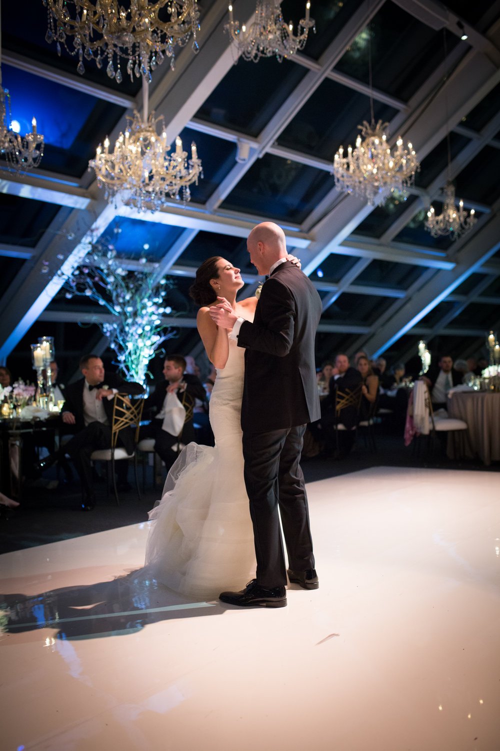 Bride and groom's first dance at Adler Planetarium wedding.