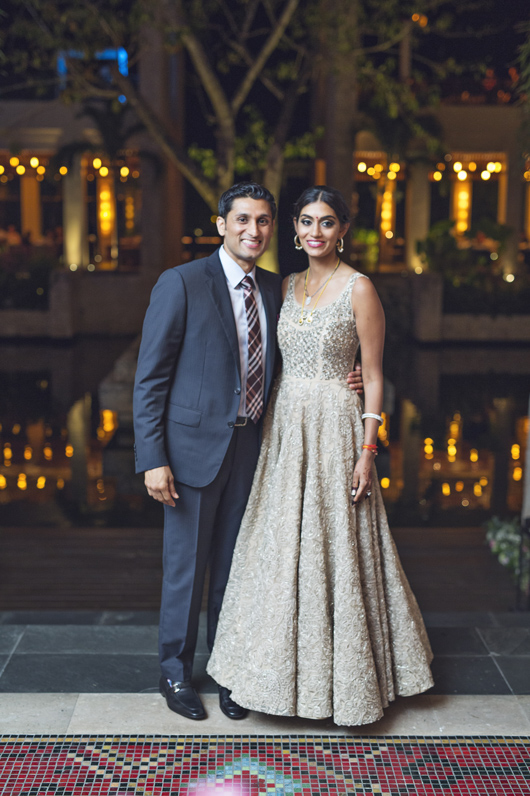 Portrait of bride and groom at Fairmont Mayakoba, Riviera Maya wedding