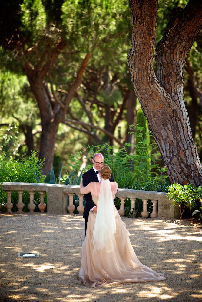 Portrait of bride and groom at wedding in Saint Tropez, France