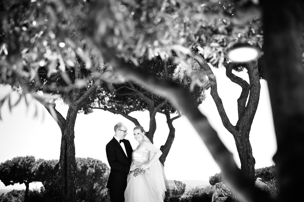 Portrait of bride and groom at French Riviera wedding