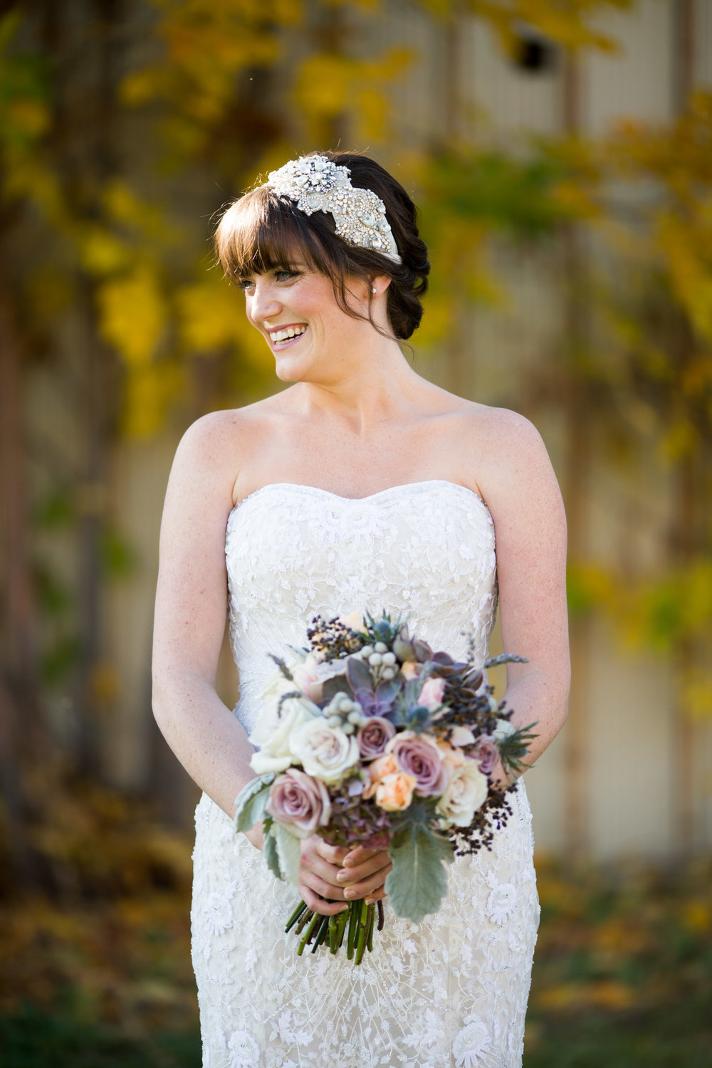 Autumn wedding bridal portrait in Chicago