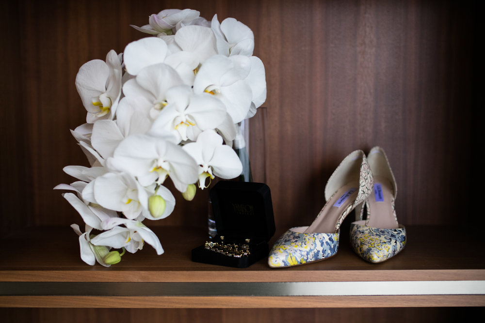 Bridal details at Westin River North Chicago.