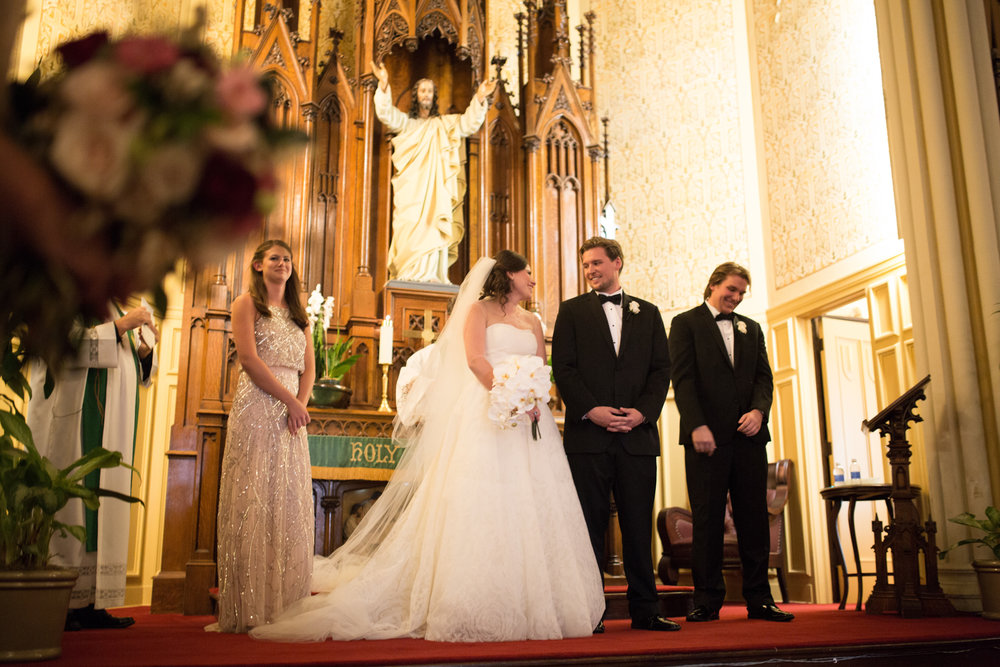 Bride and groom are married at St James Lutheran Church in Chicago.