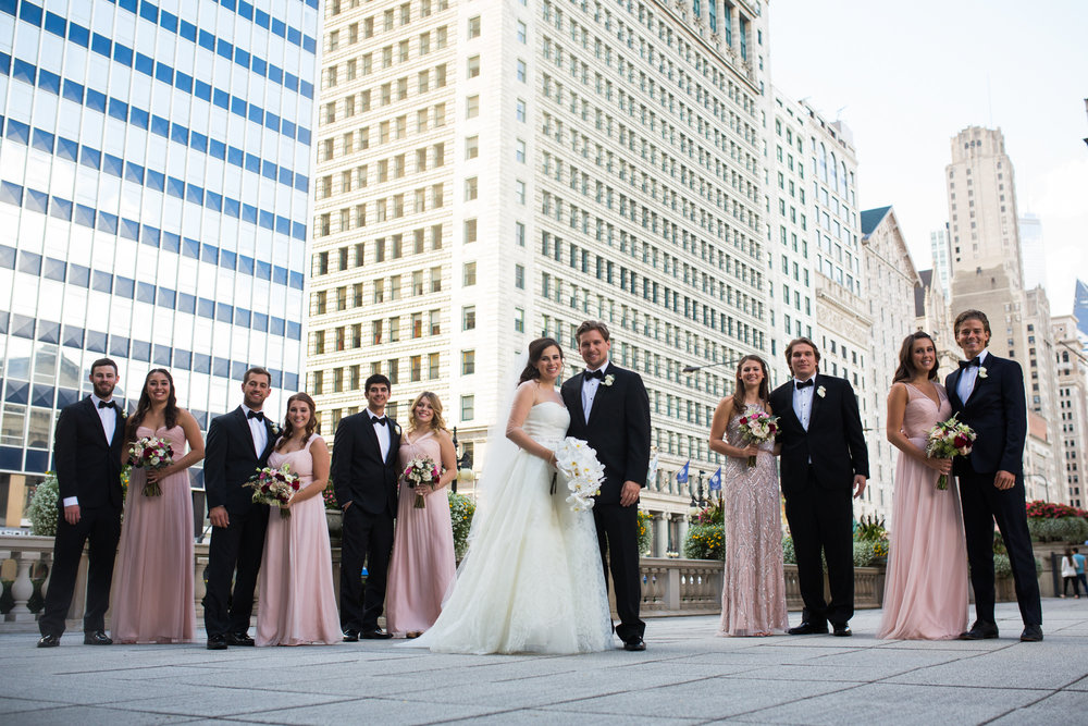 Portrait of a wedding party in downtown Chicago.