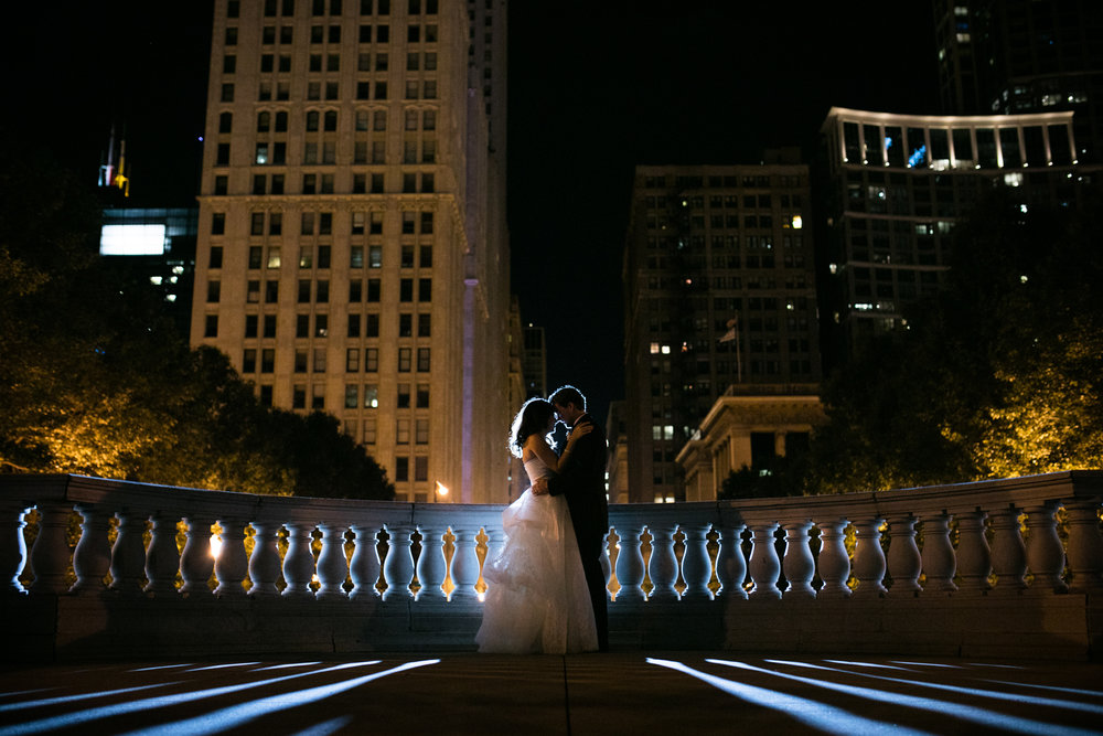 Chicago night wedding portrait in Millennium Park.