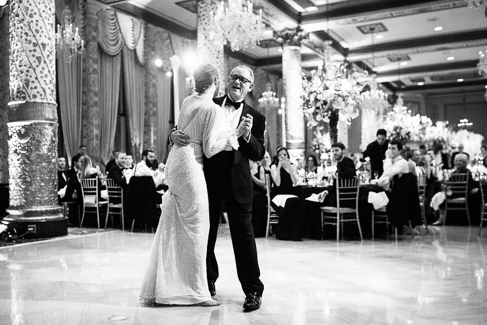 Bride and groom dance in the Gold Coast Ballroom at the Drake Hotel in Chicago